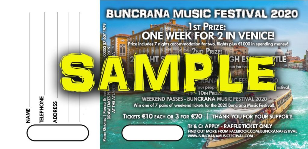 The Festival 2020.Buncrana Music Festival 2020 Raffle North West Culture Gal